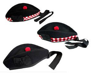 100-Puro-Lana-Glengarry-Sombrero-Piper-4-Kilts-Negro-Rojo-Blanco-A-CUADROS
