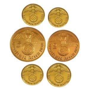 ++ 6 Münzen Mit Hk - 24 Karat Vergoldet ( 2 + 5 Reichsmark, 1,2,5 Und 10rpf )