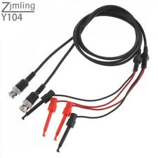 2pcs Bnc Male Plug Q9 To Dual Testing Hook Clip Test Leads Probe Coaxial Cables