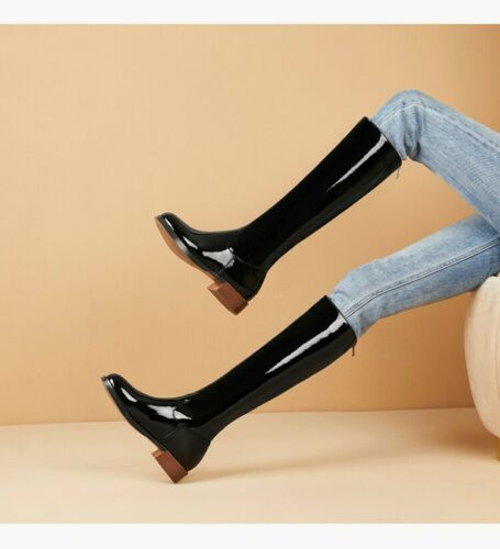 Details about  /Fashion Women/'s Round Toe Pull On Knee High Boots Leather Kngiht Shiny Shoes