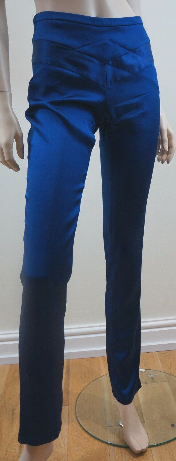 CLEMENS EN AUGUST Silk Blend Royal bluee Slim Leg Evening Trousers EU38 UK10