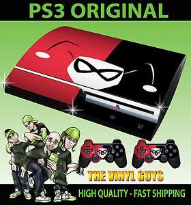 Playstation-PS3-Original-Harley-Quinn-Logotipo-Rojo-y-negro-Batman-Piel-amp-2X
