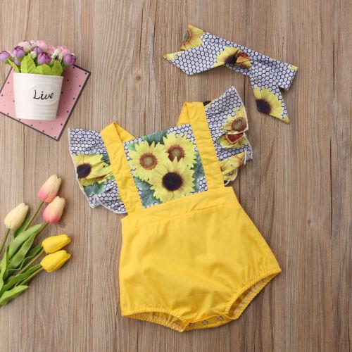 Newborn Infant Baby Girl Sunflower Bodysuit Romper Headband Outfits Clothes Set