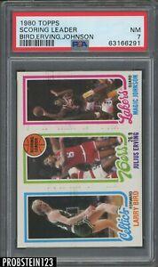 1980 Topps Basketball Larry Bird Magic Johnson RC Julius Erving HOF PSA 7 NM
