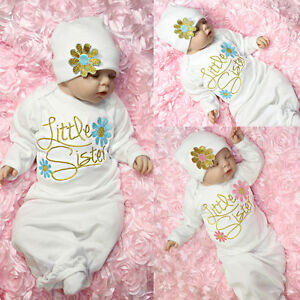 9eb75a70c2ec9 Details about 2Pcs Newborn Infant Kids Baby Girls Boy Pajamas Gown Swaddle  Outfits Gown+Hat