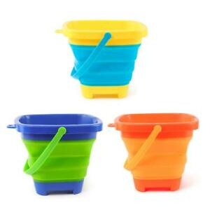 Silicone-Kids-Beach-Bucket-Sand-Toy-Collapsible-Storage-Playing-Pail-for-Camping