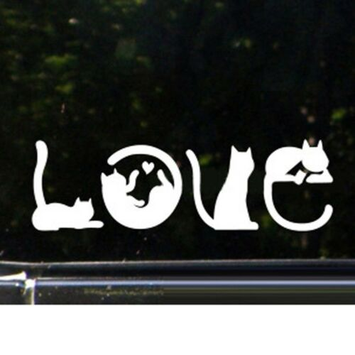 Cartoon  I LOVE CAT Novelty Car Sticker Bumper Door Trucks Window Decal Decor