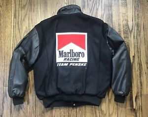 Vtg-Marlboro-Team-Penske-Mens-Varsity-Wool-Leather-IndyCar-Jacket-Size-Medium