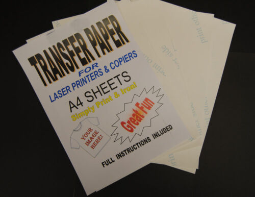 10x A4 Laser /& Copier T Shirt Thermal Transfer Paper Sheets For Light Fabrics