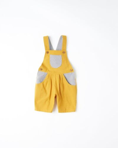 SA076 FF 22 What Mother Made Age 6-12 Months Yellow Shortie Dungaree