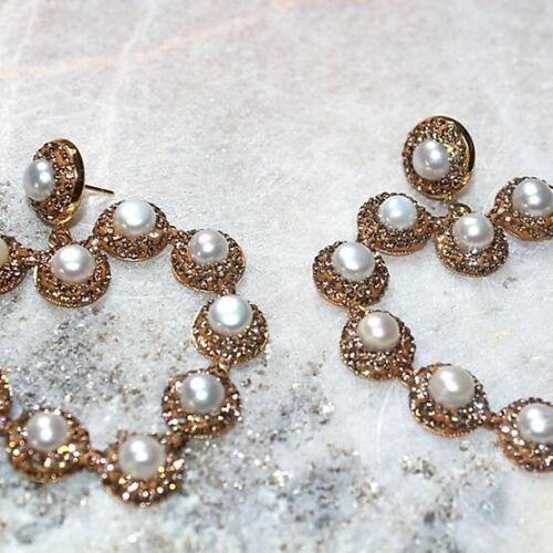 Heart Rhinestone Fresh Pearl Statement Earrings Sam Faiers Molly Mae Valentines