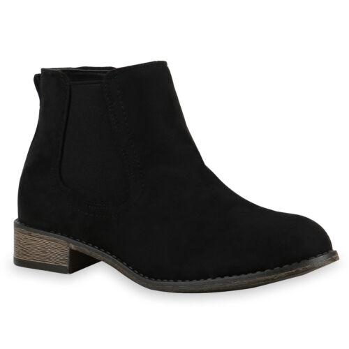 894453 Klassische Damen Stiefeletten Chelsea Boots Lederoptik Boots Schuhe Mode
