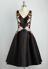 Chi Chi London Plus Size 16 XL 1X Black Embroidered Floral Midi Fit Flare Dress