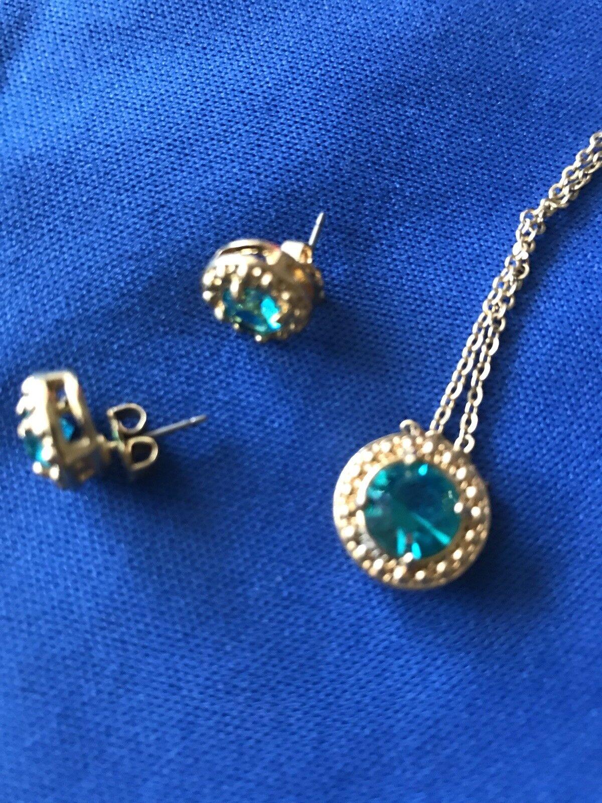 Rhinestone Earrings and Pendant Set Avon
