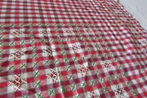 Antique-French-Beautiful-Red-White-Checked-Petite-Embroidered-tablecloth-c1920