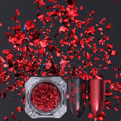 BORN PRETTY Nail Sequins Glitter Paillette Powder Dust Flakes Red Irregular Tips