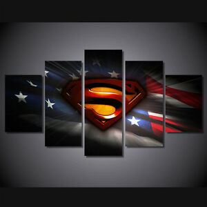 Details About Large Framed Unframed Superman American Flag Canvas Print Wall Art Home Decor
