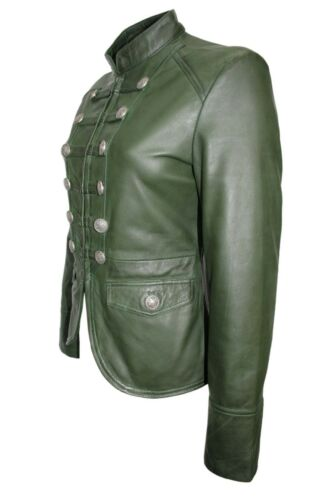 Ladies Design Style Leather Party Nappa Luxury Military Dark Real Green Jacket dOZvZw