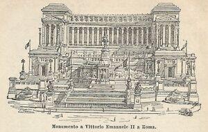 Sportif A2975 Roma - Monumento A V. Emanuele Ii - Xilografia Antica Del 1910 - Engraving