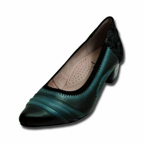 Maciejka Court shoes, Black, with Floral Pattern and Decorative Seams ,