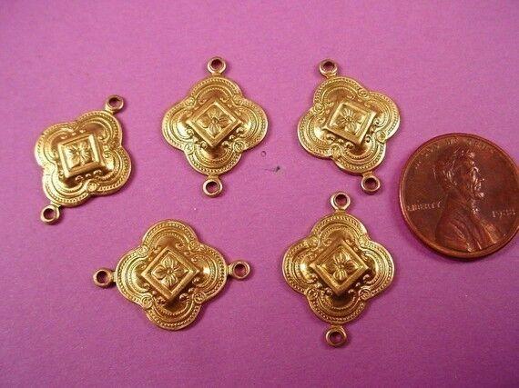 6 brass nouveau moorish medieval connectors 17mm