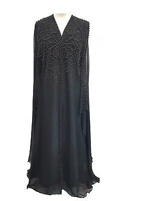 New Elegent Black Kaftan Fancy Embroidered Beaded & Special Occasion Wear Dress