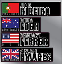 4 x Personalised Name & Flag Cycling Helmet Frame Bike Team Sticker 12mm Decal