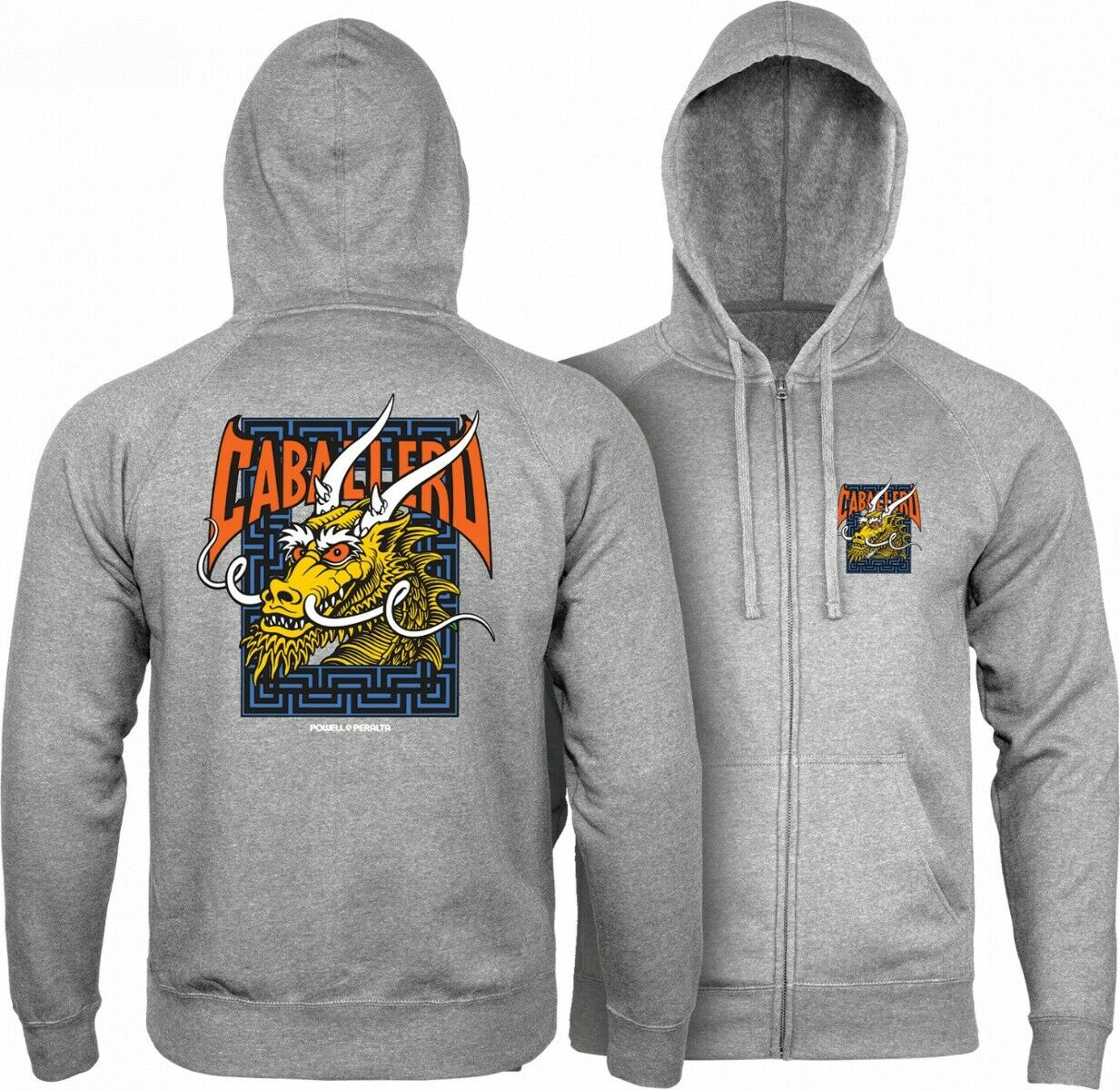 Powell Peralta Steve Caballero DRAGON en BATS ZIP Up Capuchon Guntmetal Groot