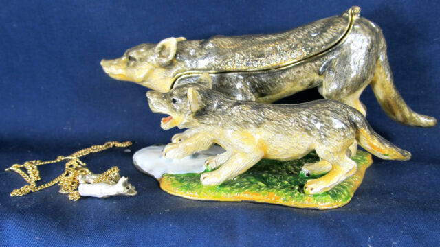 "Wolf Mom and Pup ""on Guard"" Jeweled Pewter Trinket Box w/ Necklace Wildlife"