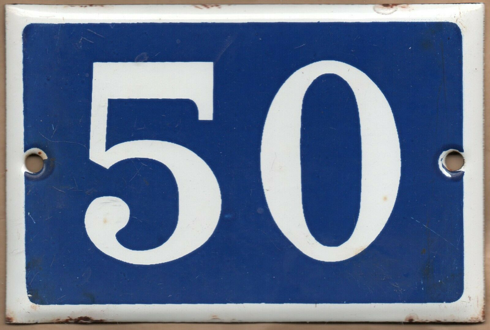 Old Blau French house number 50 door gate plate plaque enamel steel metal sign