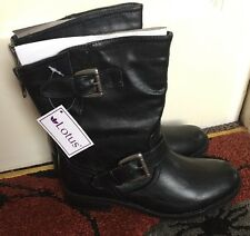 New Womens Lotus Barberry Biker Style Ankle Boots Synthetic Leather Black UK 5