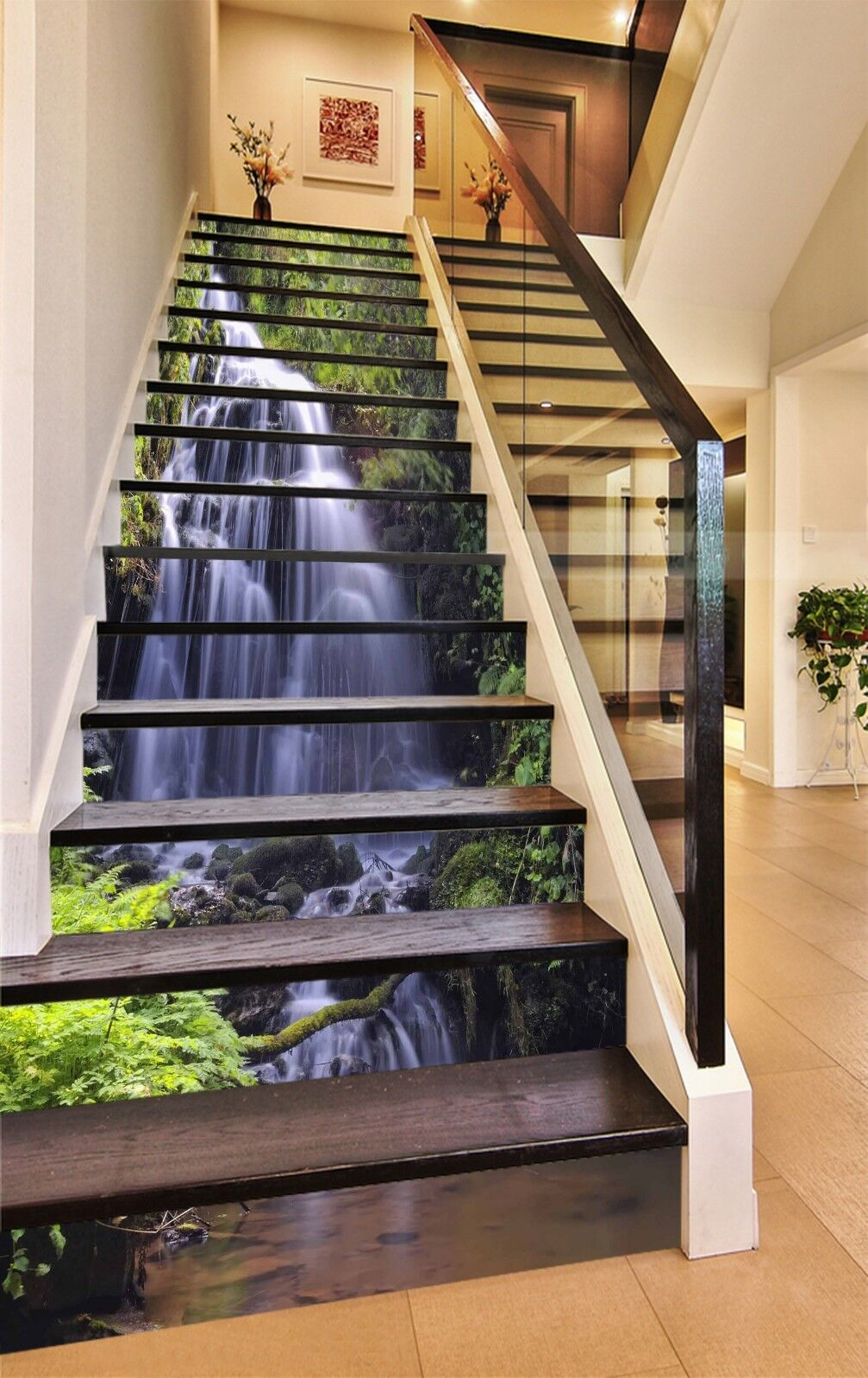 Rivulet 3D Tree Stair UK WandPapier Decal Vinyl Mural Photo ...
