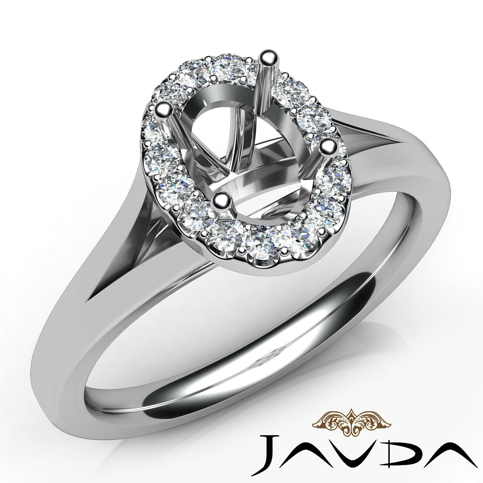 Oval Diamond Semi Mount Engagement 14k White gold Halo Pave Setting Ring 0.2Ct