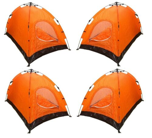 Lot de 4 instantanée automatique Pop Up Backpacking Camping Randonnée 2 Homme Tente Orange