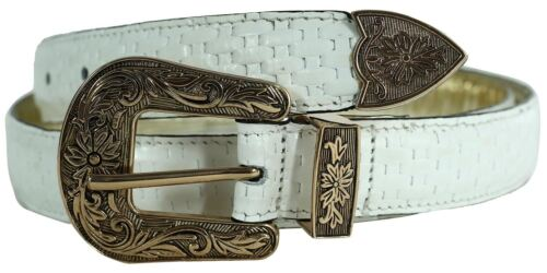 Womens White Mido Print Floral Antique Buckle Tapered Edge Leather Belts M-4XL