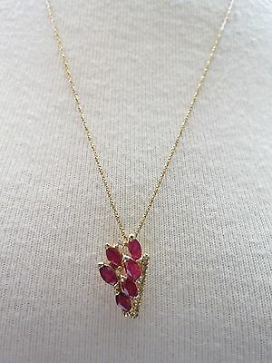 "14k Yellow Gold Marquise Ruby Diamond Pendant Necklace 4.33g Box Chain 24"" Italy"