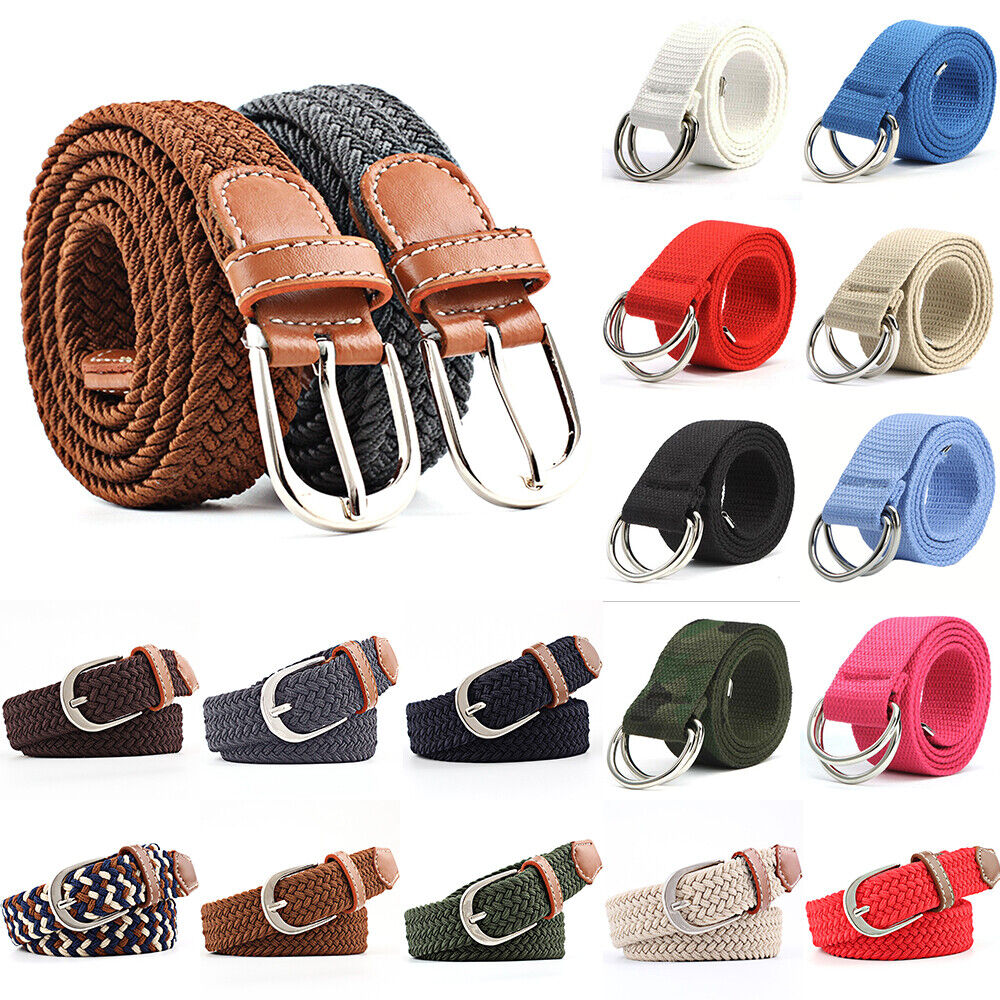 Unisex Stretchy Webbing Braided Plaited Buckle Canvas Woven Belt Elastic Belt