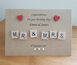Handmade Love Wedding//Anniversary//Engagement Scrabble Tile Card