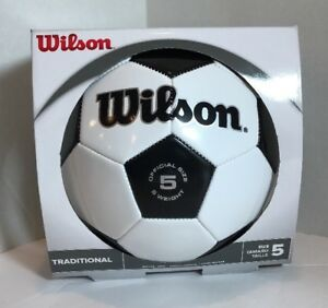 Image is loading Wilson-Traditional-Leather-Soccer-Ball-FIFA-Official-Size- 4b4f610bad569
