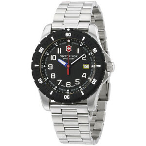 Victorinox-Swiss-Army-Black-Dial-Stainless-Steel-Men-039-s-Watch-241675
