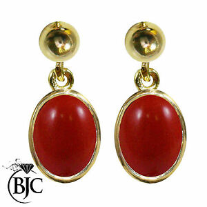 BJC-9ct-Yellow-Gold-Natural-Red-Coral-Oval-Single-Drop-Dangling-Studs-Earrings