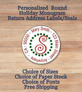 personalized round holiday christmas monogram return address labels