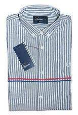 FRED PERRY Slim Striped Pattern Mens Shirt Long Sleeve Grey White Cotton BNWT