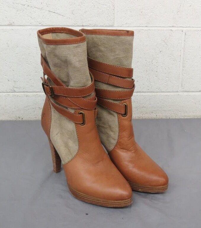 Frye Harlow Multi-Strap Marronee Leather & Textile High-Heel Pull-On stivali US 9.5
