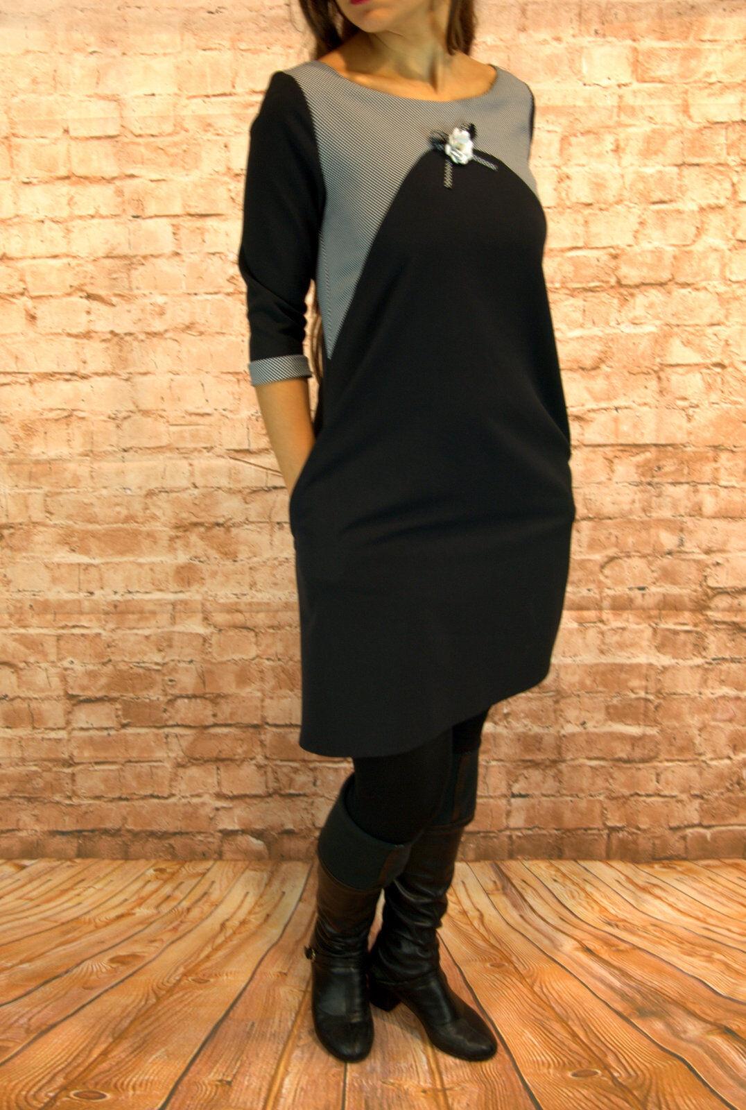 Abendkleid kurz Coctailkleid Herbst Winter Minikleid Kleid 3 4 Arm Gr.34 schwarz
