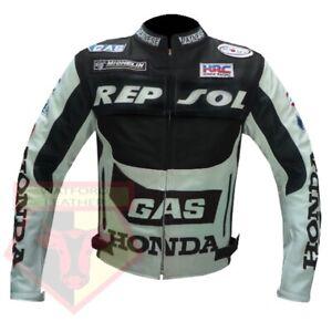 HONDA-GAS-REPSOL-BLACK-MOTORBIKE-MOTORCYCLE-COWHIDE-LEATHER-ARMOURED-JACKET