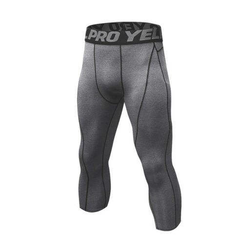 Men/'s Compression Leggings Running Football 3//4 Length Training Moisture Wicking