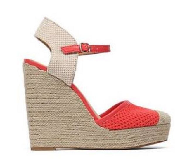 8ae41236fcf Women s Lucky Brand REANDRA Espadrille Wedge Sandals Platforms Coral Cayenne
