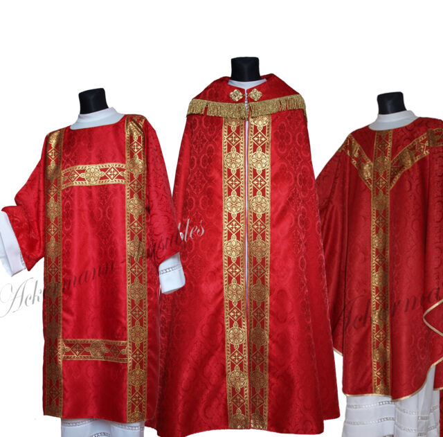 RED COPE, CHASUBLE, DALMATIC, HUMERAL VEIL, CHALICE VEIL, BURSE, MANIPLES C25 us