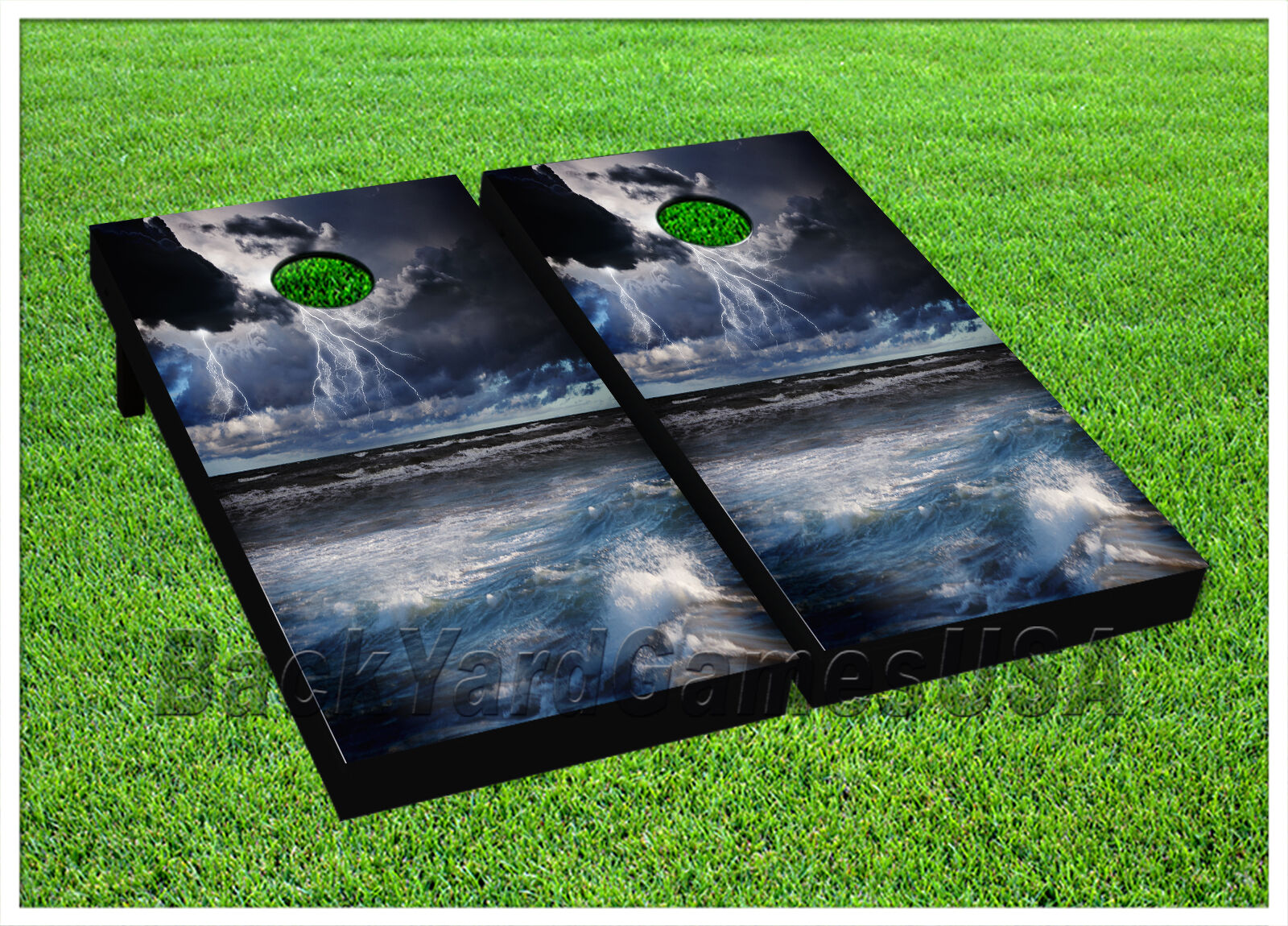CORNHOLE BEANBAG TOSS GAME w Bags  Game Boards Storm Lighting Ocean Sea Set 962  for wholesale